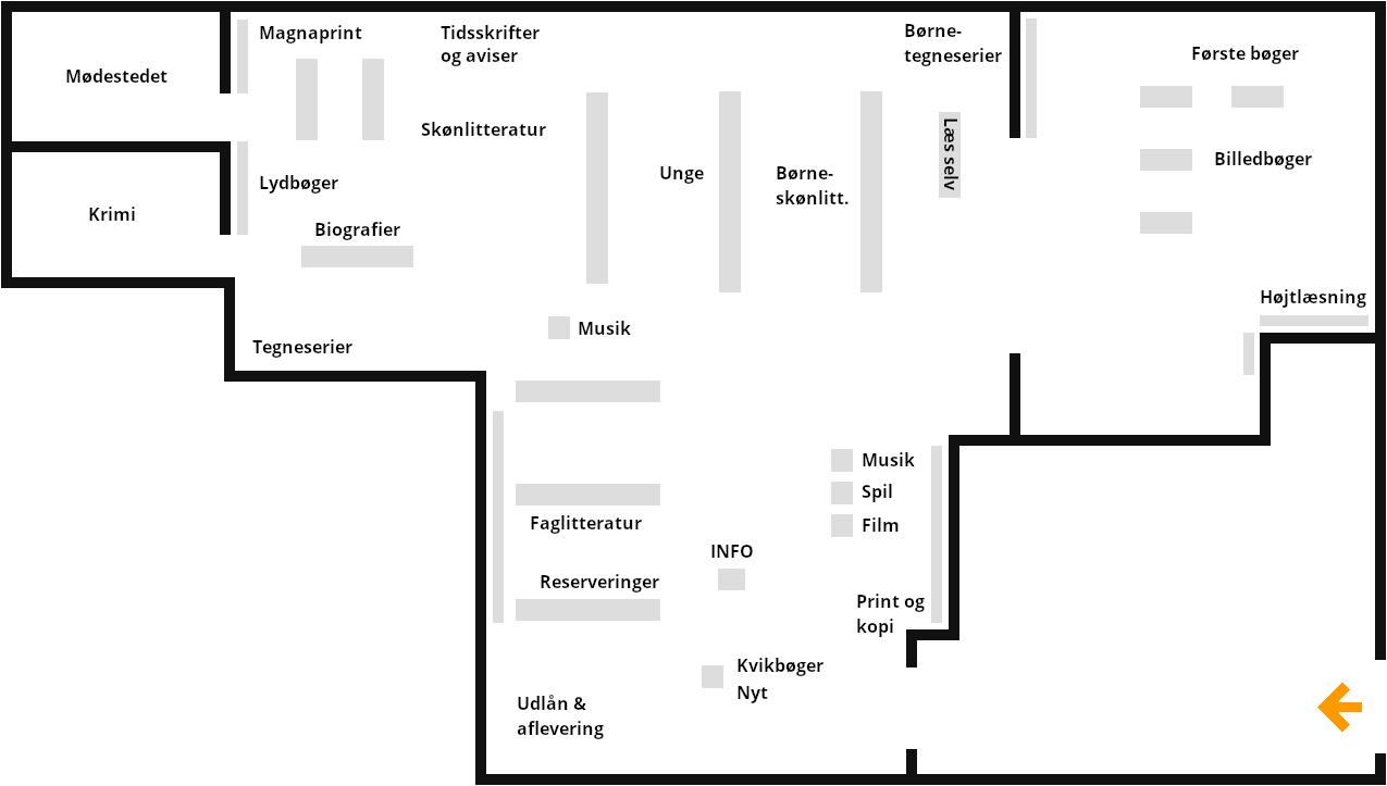 Kort over Biblioteket i Aulum