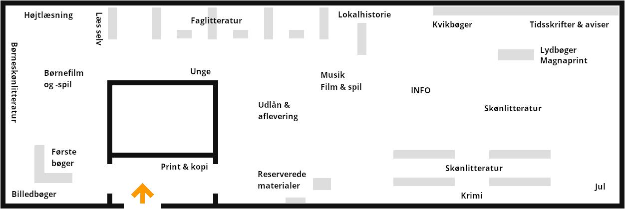 Kort over Biblioteket i Vildbjerg